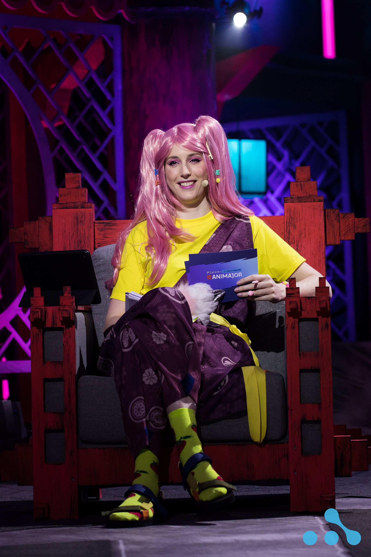 "Jorien ""Sheever"" van der Heiden onstage as an anime character. Photo: WePlay Holding"