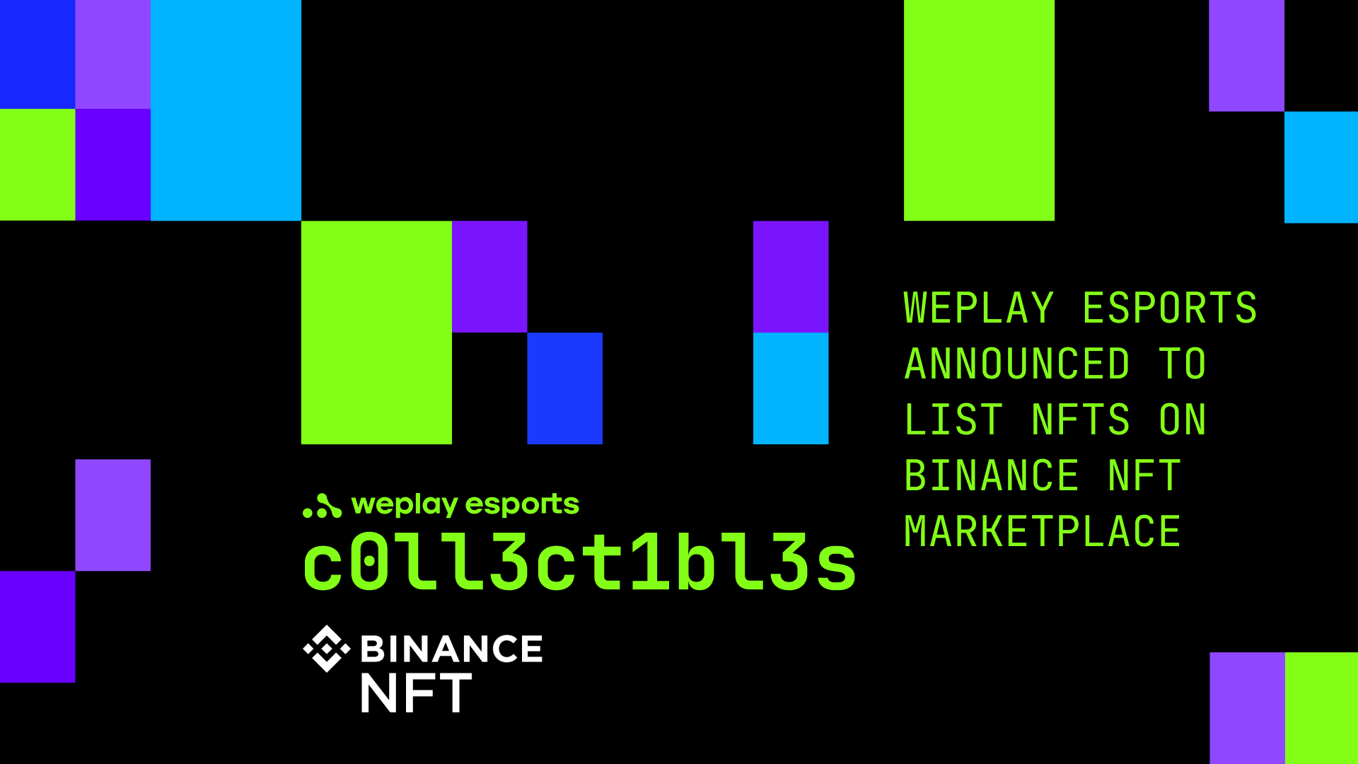 WePlay Esports announced to list NFTs on Binance NFT Marketplace. Image: WePlay Holding