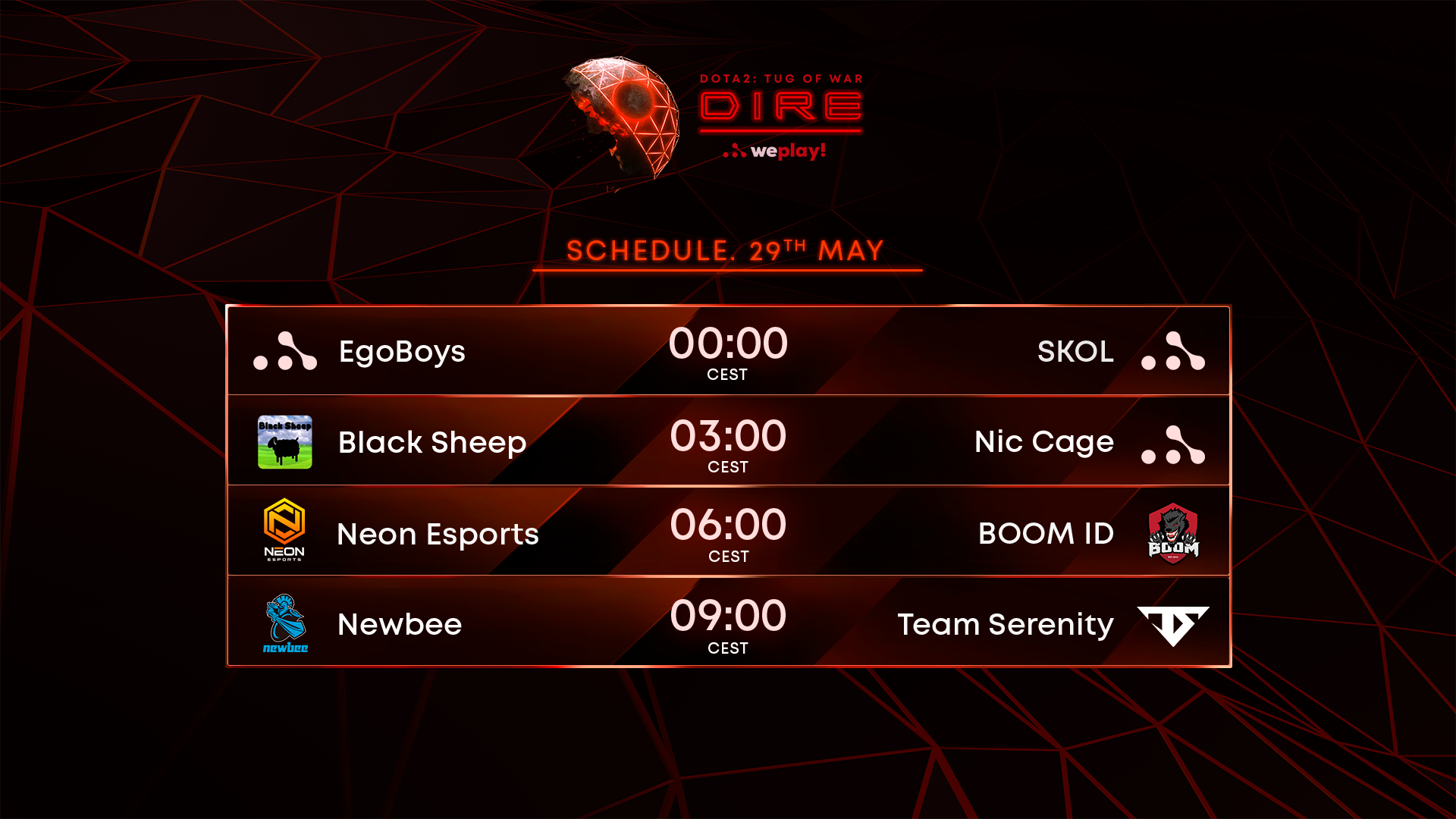 29th of May: Schedule